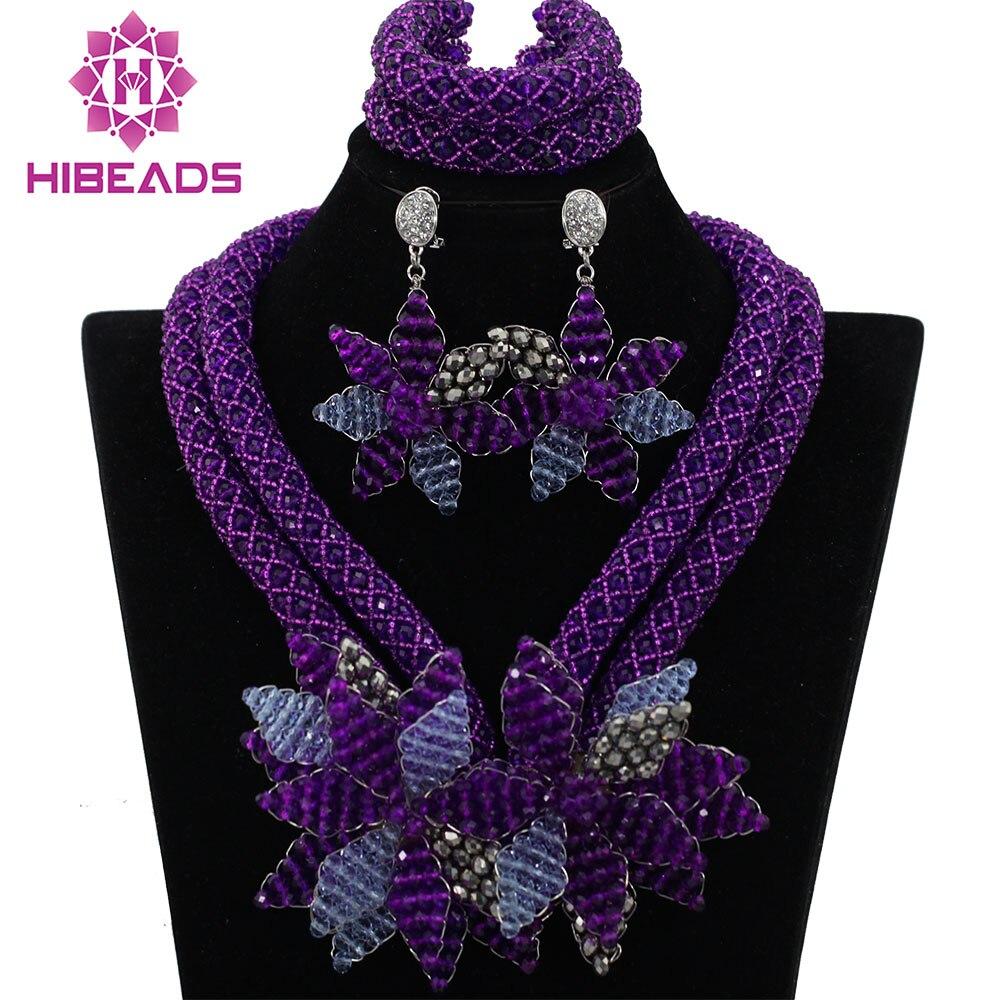 Incroyable violet femmes africaines mariage bijoux de mariée ensembles fleur collier demoiselle d'honneur à la main africaine perle bijoux ensemble QW237
