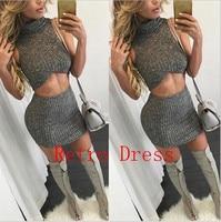 Sexy Club Dress 2016 Winter Women Two Piece Outfits Evening Party Wear Sweater Dress Sleeveless 2