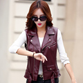 2016 autumn new vest leather short design leather clothing female slim jacket motorcycle coat Vest female