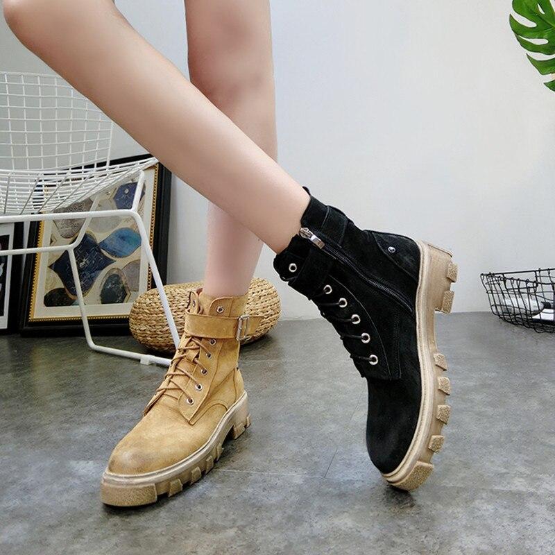 Britannique Chaussures army Rétro Bout Femmes De Porc Rond Épais Green Boot Moto Bottes brown Martin Mat En Style Black Sangle Boucle Cuir Talons vdgnv