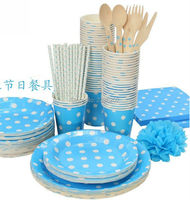 12 Persons 141pcs Polka Dots Round Party Paper Plates Napkins Paper Straw Baby Shower Wedding Decoration