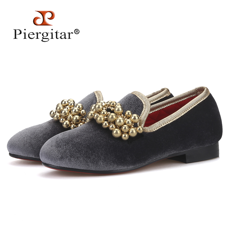 Piergitar brand 2018 Handmade kid velvet shoes same designs Parent child shoes Fashion party and banquet