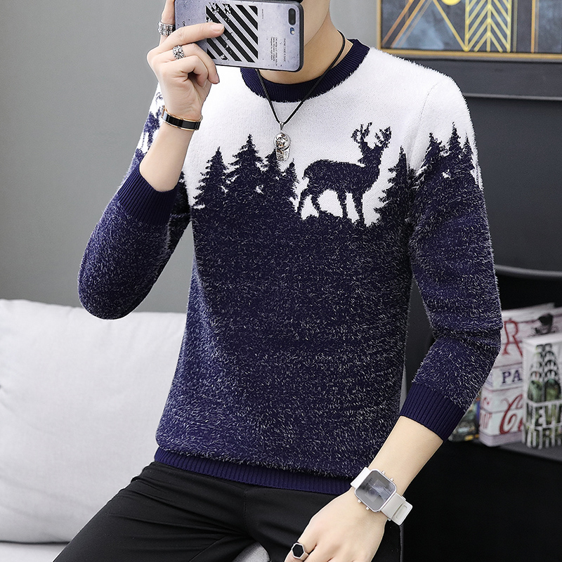 2020 Spring Korean Fashion Sweater Men Female Sika Deer Pattern Casual Knitted Pullover Slim Fit Christmas Gift Male Pull Sweter(China)