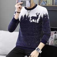 Jesień koreański moda Sweter mężczyźni kobieta Sika Deer wzór Casual dzianinowe swetry Slim Fit Christmas Gift męski Pull Sweter