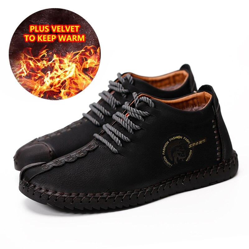 Couro Lacent Mocassins Taille Sneakers 46 Homme Conduite D'hiver Fourrure Grande Hommes Bottes khaki Polaires brown Doux Chaud Chaussures Black Mâle Chaussure TBqzy8wx