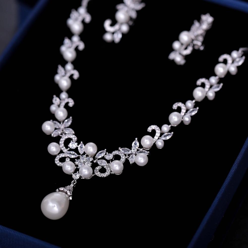 Ensembles de Bijoux de mariée de mode collier pendentif perles simulées AAA zircon cubique fleur boucles d'oreilles femmes Bijoux cadeaux - 2