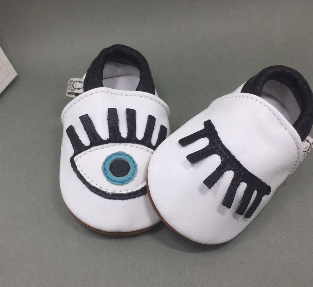 Retail New Genuine sheep Leather Baby Moccasins Shoes big eyes Baby boys girls Shoes Newborn first walker Infant Shoes