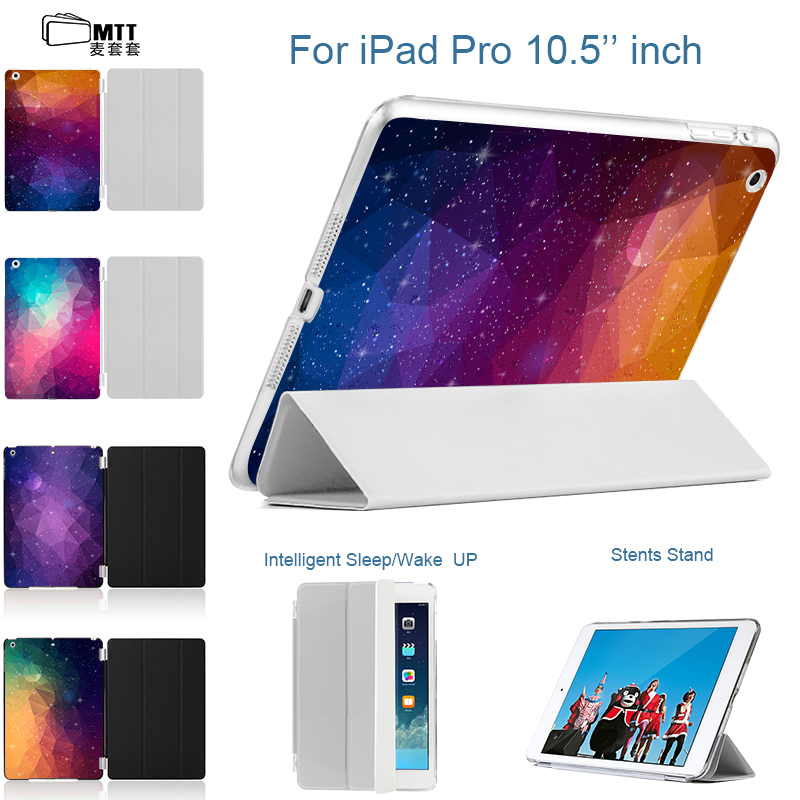 MTT 2017 New Print Polygonal PC Back Case for Apple iPad 10.5 inch Slim Leather Front Cover For iPad pro 10.5 Tablet Smart Case nice flexible tpu silicone case for apple new 2017 ipad 9 7 cover protect smart cover partner clear transperent bottom back case