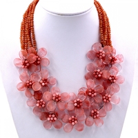 2017 Trendy fashion 2018 New handmade red Cherry Quartzs flower necklace Jewelry Women Gift Party