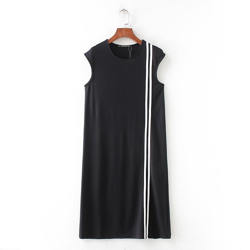 ASDS Women Vestidos Dress Straight natural Minimalism None O-neck Sleeveless Mid-calf Pinted Dress Women WQZ47975