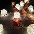 2 metro 20 led luz cordas + 20 pcs bola de algodão globo bateria iluminação do feriado de natal festa de natal decoração guirlanda Luz CONDUZIDA Da Corda