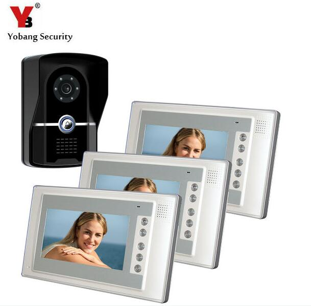 Yobang Security 7TFT Video Door Phone Intercom Doorbell System Kit 700TVL Door Monitor One To Three Video DoorPhone Smart Home yobang security 7 inch video door phone visual doorbell doorphone intercom kit with metal villa outdoor unit door camera monitor