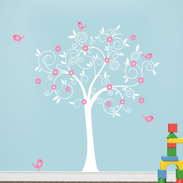 Birds Flowers Tree Wall Decal Sticker Mural Wallpaper Vinyl Baby Room Nursery Play S