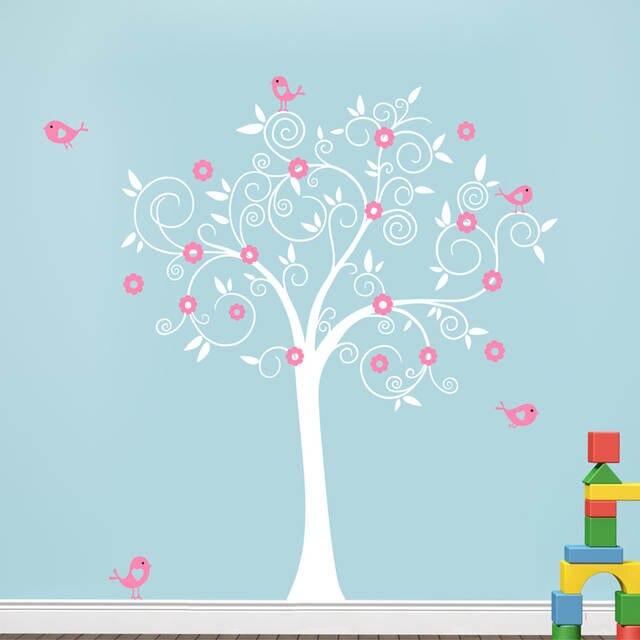Us 19 9 Birds Flowers Tree Wall Decal Sticker Mural Wallpaper Vinyl Baby Room Nursery Play S 180 180cm Home Decoration In