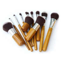 Nova 11 pcs set maquiagem, Macio Sereia forma Cosméticos jogo de Escova, Alça De Bambu Escovas kit de Alta Qualidade, fibra de Cabeça Da Escova para a Composição