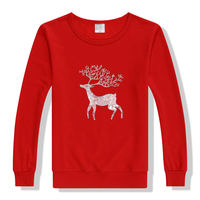 New Women Fashion Solid Sweatshirt Christmas Deer Printed Hooded Pullover Casual Print Sweatshirt 65 Cotton