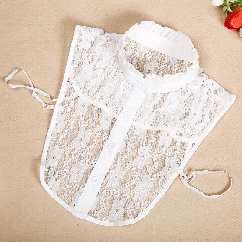 Korean Lace Fake Collar Retro Detachable Lapel Choker Shirt Fake False Collar Lapel Blouse Top Women Clothes Accessories