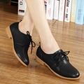 2016 Classic KUYUPP Mujeres Planos del Cuero Genuino de Los Zapatos de Oxfords Casual Solid Lace Up Ladies Pisos Women Shoes Mocassin Femme PX118