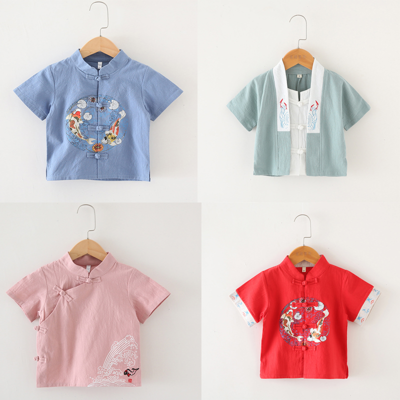 Children'S Traditional Kungfu Clothing Summer Boy Short Sleeve +  Trousers Cotton And Linen Tang Sets Baby Chinese Outfit SL1039