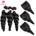 Beau Loose Curly Hair Malaysian Hair Weave Bundles With Lace Closure Human Hair Non Remy Deals Loose Wave Bundles With Closure