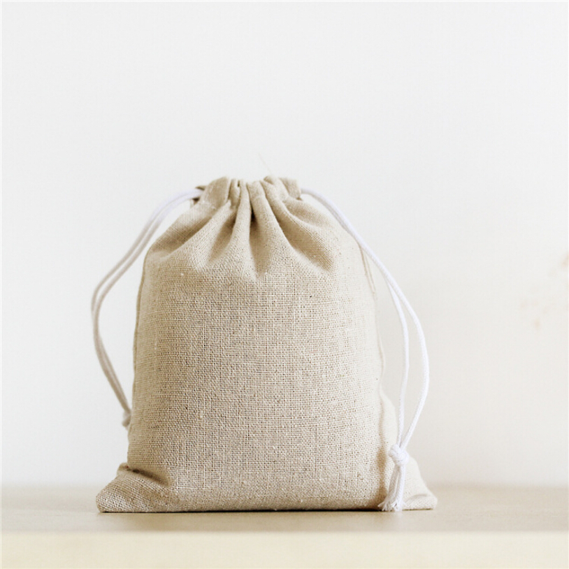 solid blank cotton linen storage bag eco friendly shopping