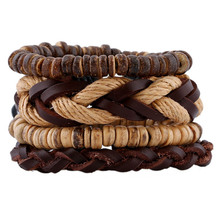 4 PCS/Set Multilayer  Bracelet Men Jewelry Vintage Brown Wooden Beads Braided Bracelets for Women Bracelets & Bangles