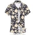 2016 Новая Мода Мужская Цветочные Рубашки Высокого Качества Персонализированные Печати С Коротким Рукавом Рубашки Мужчин Случайные Летние Мужские Цветочные Рубашки 6XL