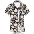 2016 New Fashion Mens Flower Shirt High Quality Personalized Print Short Sleeve Shirt Men Casual Summer Mens Floral Shirt 6XL