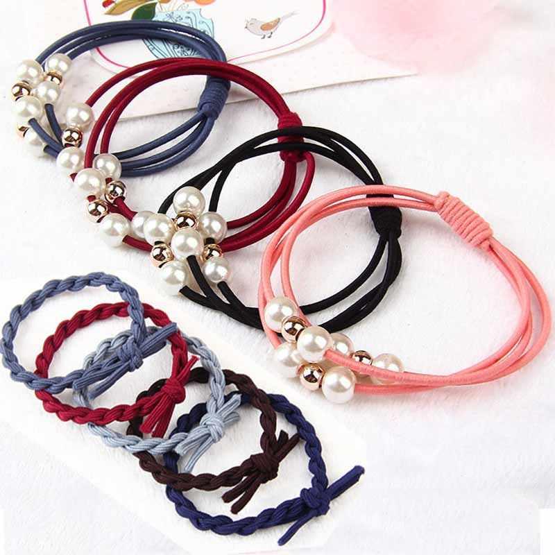 Nuevos accesorios coreanos para el cabello para mujeres tejer bandas de goma para el cabello niñas adorables cuerdas de pelo de perlas soporte de cola de caballo