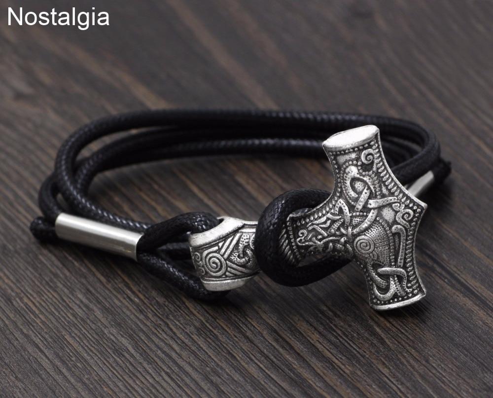 Nostalgia Viking Thor Martelo Homens Tibetano Jóias Charme Bangle Bracelete Ajustável Unice Presente de Formatura