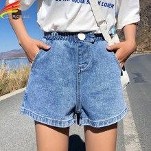 Streetwear yaz kadın kot şort 2020 yeni varış yüksek elastik bel geniş bacak şort kot siyah mavi beyaz pembe kısa femme