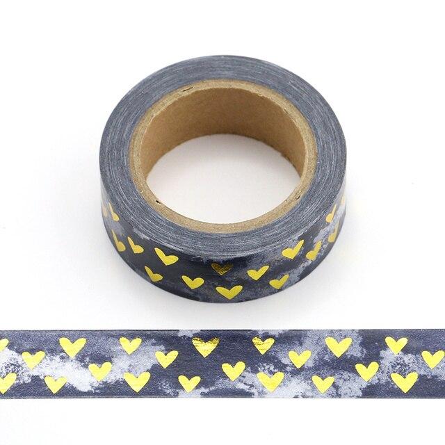 1 piezas Corazón de aluminio cinta de Washi japonés de papel de 1,5 cm * 10 m Kawaii Scrapbooking herramientas cinta adhesiva Navidad foto álbum Diy cintas decorativas