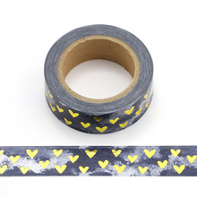 1pcS Heart Foil Washi Tape Japanese Paper 1.5cm*10m Kawaii Scrapbooking Tools Masking Tape Xmas Photo Album Diy Decorative Tapes цена и фото
