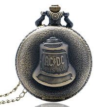 Cool Fashion Necklace Clock for Men Women AC/DC Band Hell Bell Design Rock Style Quarzt Pocket Watches Unique Relogio Guys Gift