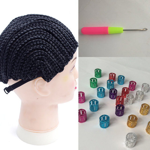 100pcs hair rings for braids with curved sewing needles hair weaving with thread glueless full lace wig cap wig cap for making
