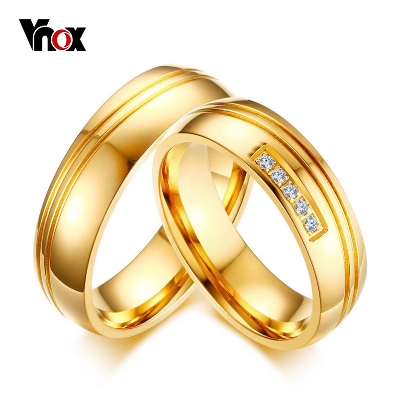 vnox aaa cz stones gold color wedding rings for women men stainless steel alliance couple