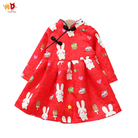 AD Chinese Style Girls Christmas Dress For Winter Fleece Warm Classical China Red Kids New Year