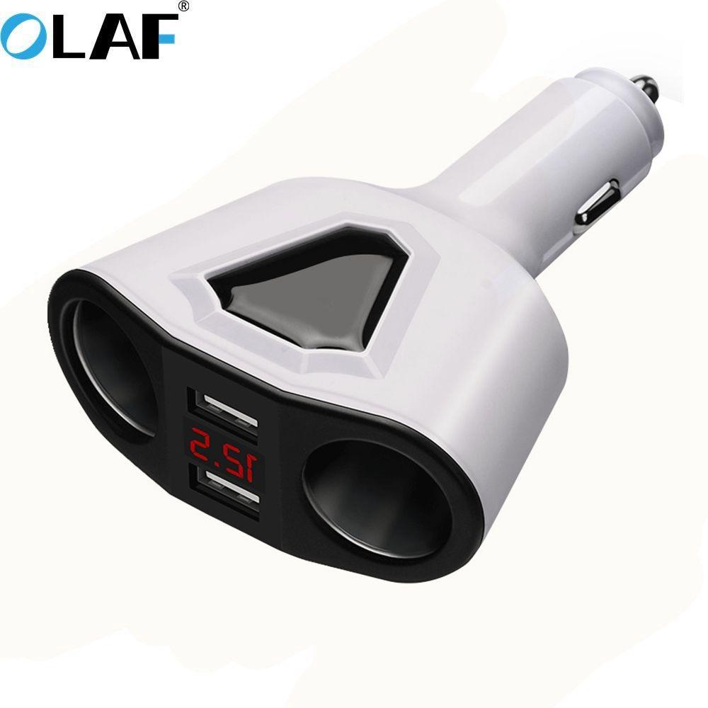 Olaf Car Cigarette Lighter Socket 5V 3.1A Car Charger 2 USB Port 2 Way for Splitter Charger DC 12~24V Cigarette Lighter Socke