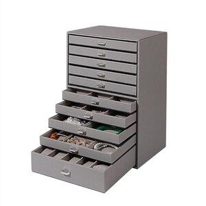 Image 3 - 大容量形の多層ボックス表示puレザー収納ジュエリーディスプレイボックスキャリングケースリングネックレスジュエリー