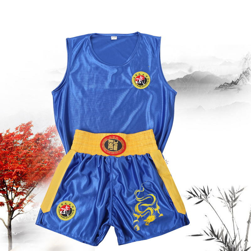 Unisex Bruce Lee Wushu Clothing Kung Fu Uniform Sanda Wu Shu Clothes Martial Arts Set Boxing Shorts Suit With Embroidered Dragon