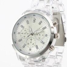 Nueva Manera CRISTALINA de Cuarzo Reloj de Mujer de Marca de Lujo de Cuarzo-reloj de Resina de La Vendimia Casual Relogio Del Deporte Femilino Reloj Hombre