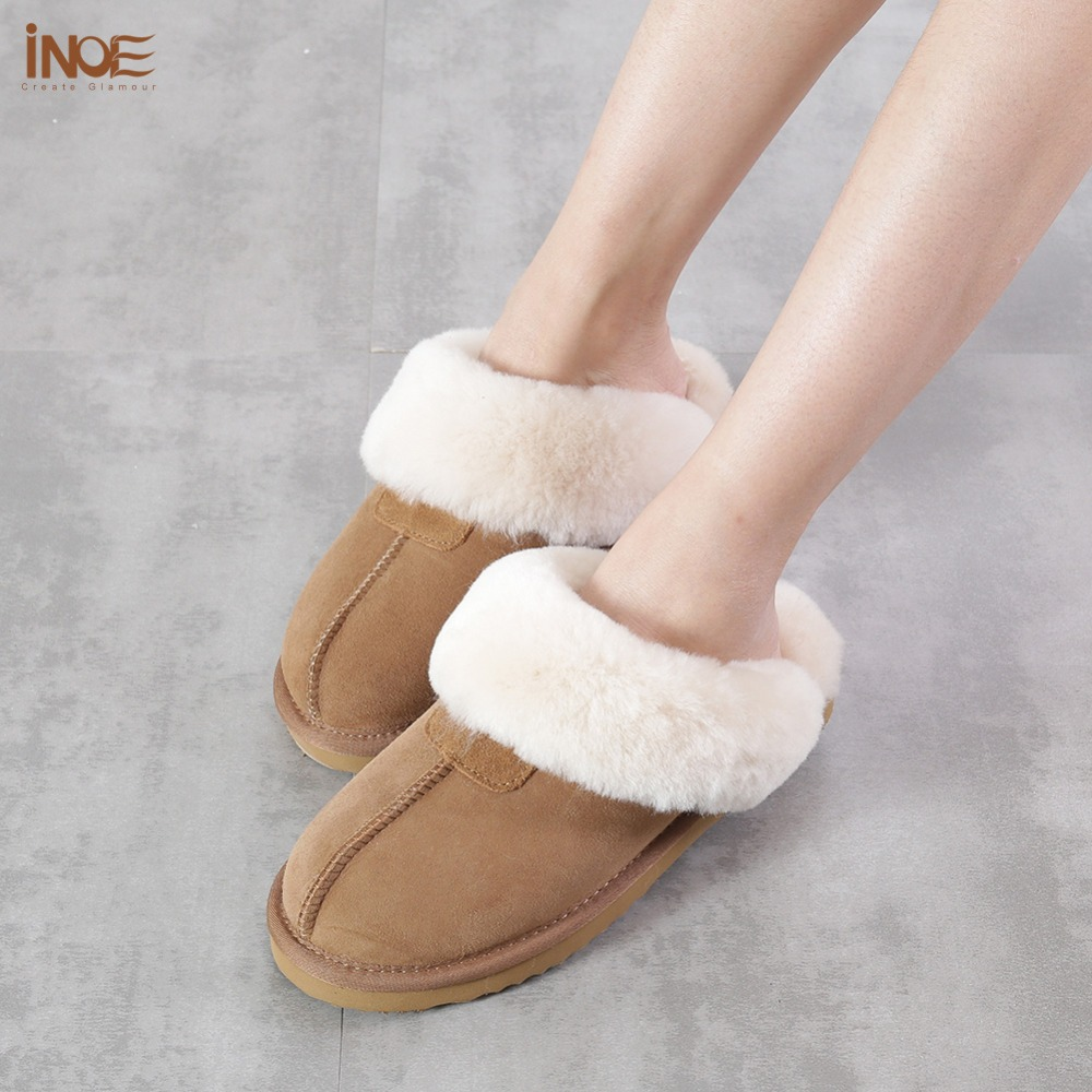 INOE classic women real sheepskin leather wool fur lined winter slippers home shoes baboon in house high quality 35-44