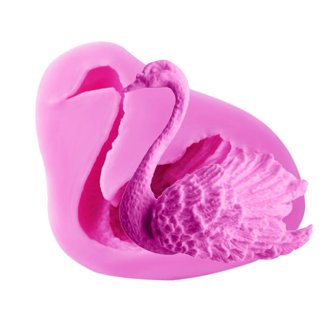 ②Caramelo 1 unid 3D Cisne forma silicona chocolate jabón molde ...
