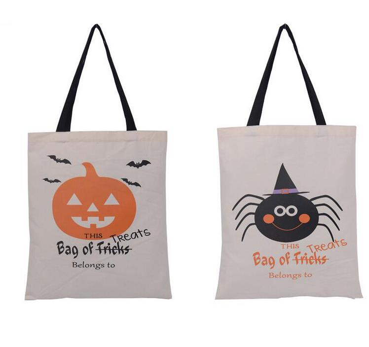 50pcs 6 Types Halloween Tote Bags with Black Handle Pumpkin Christmas Shopping Bags Festival Gifts Bag Halloween Canvas Bag