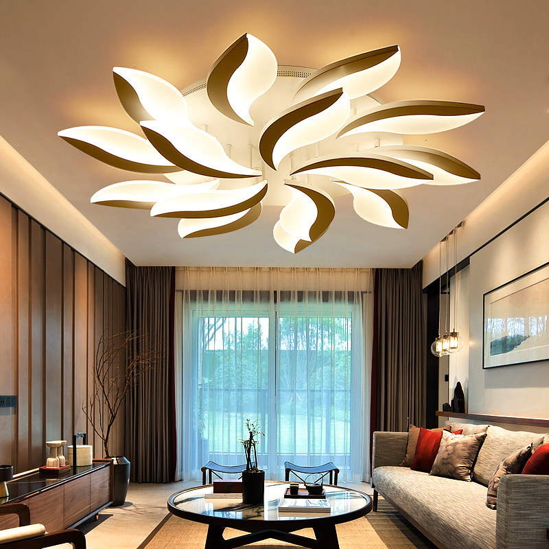 Ceiling Lights & Fans Square Led Ceiling Lights Living Room Bedroom Remote Control Lamparas De Techo Moderna Gold Coffee Frame Home Fixtures