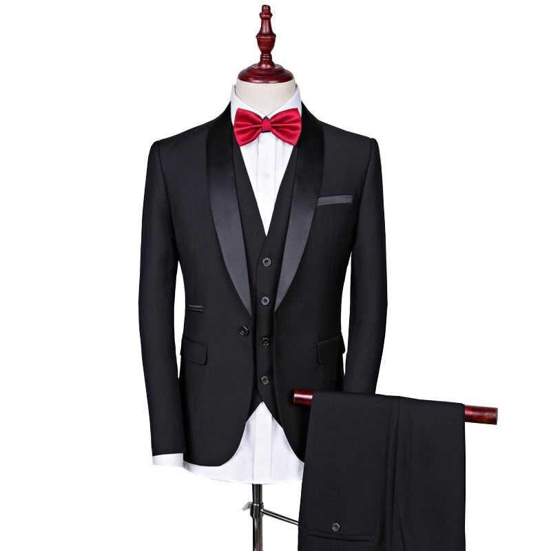 黒結婚式カジュアルスーツ男性新郎タキシード男性スーツワンボタンの結婚式のスーツ介添人スーツ (ジャケット + パンツ + ベスト)