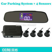 New Car Parking Assistance System With 4 Parking Sensors Rearview Mirror Display Auto Backup Reverse Radar