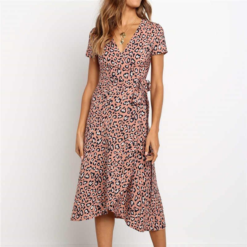Женские сексуальные модные платья с v-образным вырезом женские с короткими рукавами леопардовое платье средней длины женское повседневное элегантное шифоновое платье с поясом
