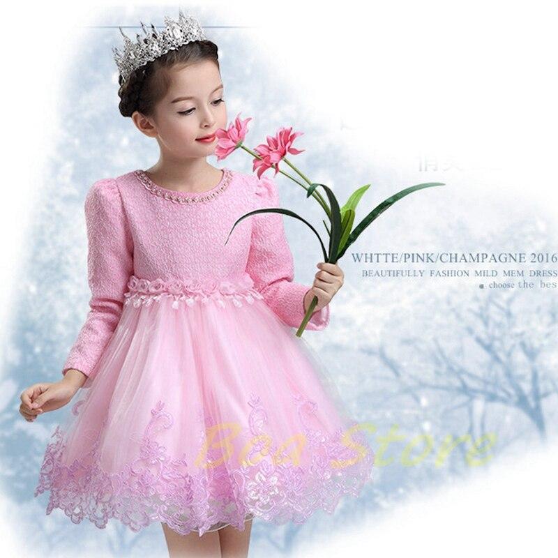 Bébé filles à manches longues robe de princesse complète robe de bal fleur fête de mariage spécial princesse enfants robes pour filles vêtements