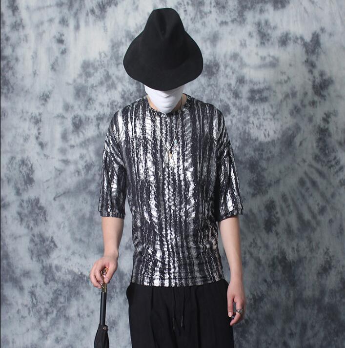 Bronzier Col Vintage Hommes Rond shirts shirt douille Impression Court Mâle De Personnalité Des Manches Mode Lâche Cinquième Mince T T Argent PwnpOtq
